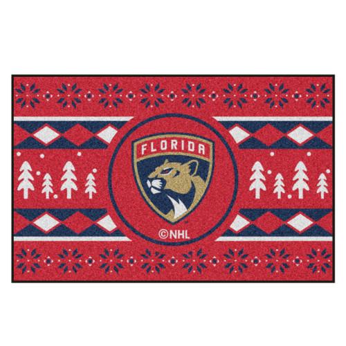 "Red and Black NHL Florida Panthers Rectangular Sweater Starter Mat 30"" x 19"" - IMAGE 1"