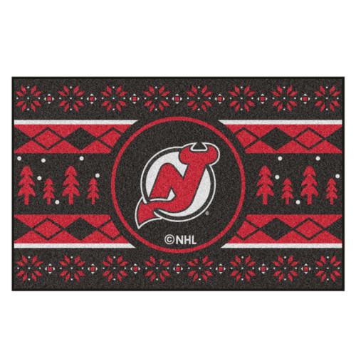 "Black and Red NHL New Jersey Devils Rectangular Sweater Starter Mat 30"" x 19"" - IMAGE 1"