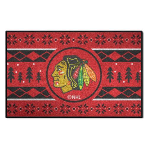 "Red and Black NHL Chicago Blackhawks Rectangular Sweater Starter Mat 30"" x 19"" - IMAGE 1"