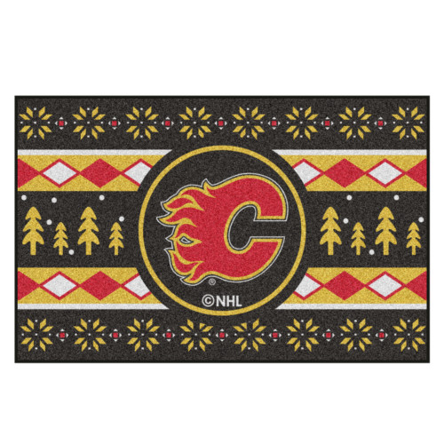 "Black and Yellow NHL Calgary Flames Rectangular Sweater Starter Mat 30"" x 19"" - IMAGE 1"