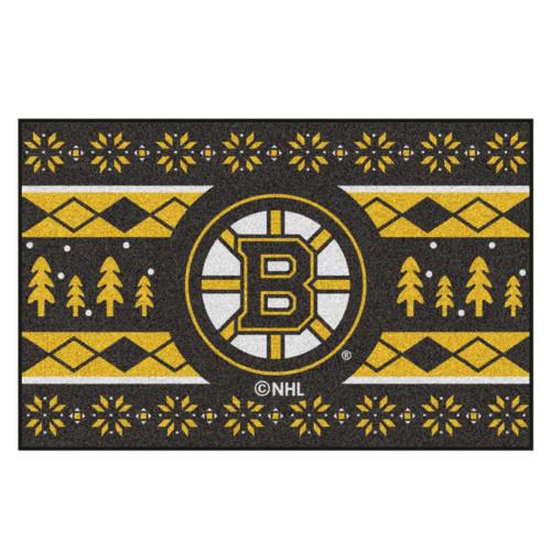 "Black and Yellow NHL Boston Bruins Rectangular Sweater Starter Mat 30"" x 19"" - IMAGE 1"