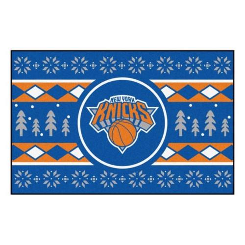 "19"" x 30"" Blue and Brown NBA New York Knicks Rectangular Sweater Starter Mat - IMAGE 1"