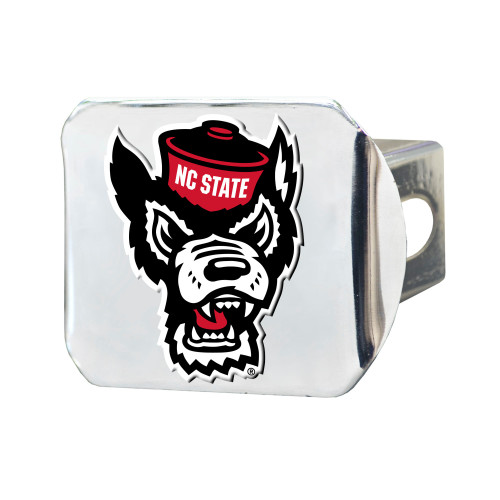 "4"" Stainless Steel and Black NCAA North Carolina State Wolfpack Hitch Cover - IMAGE 1"