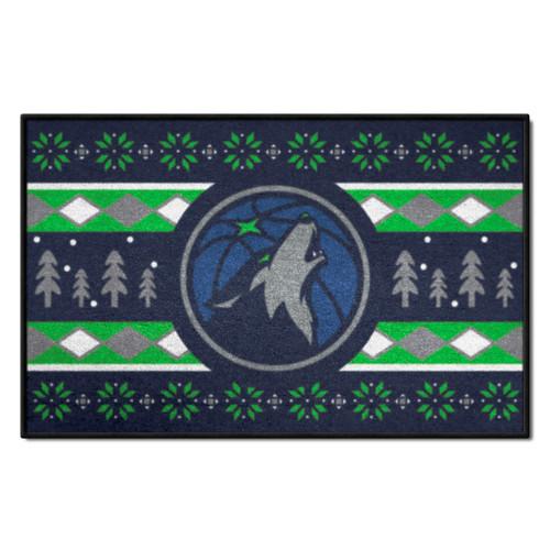 "19"" x 30"" Green and Gray NBA Minnesota Timberwolves Rectangular Sweater Starter Mat - IMAGE 1"