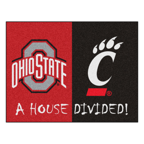 """Black and Red Ohio State/Cincinnati Rectangular House Divided Mat 42.5"""" x 33.75"""" - IMAGE 1"""