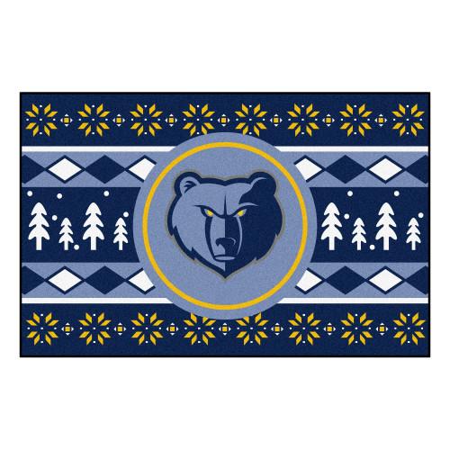 "19"" x 30"" Blue and Yellow NBA Memphis Grizzlies Rectangular Sweater Starter Mat - IMAGE 1"