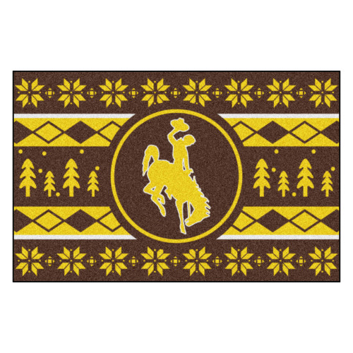 "Brown and Yellow NCAA Wyoming Cowboys Rectangular Sweater Starter Mat 30"" x 19"" - IMAGE 1"