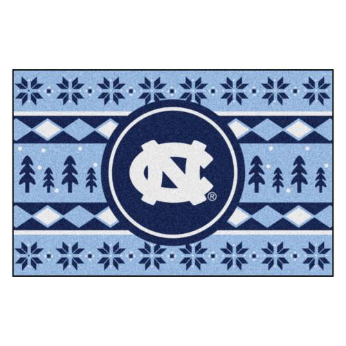 "Blue and White NCAA North Carolina Tar Heels Rectangular Sweater Starter Mat 30"" x 19"" - IMAGE 1"