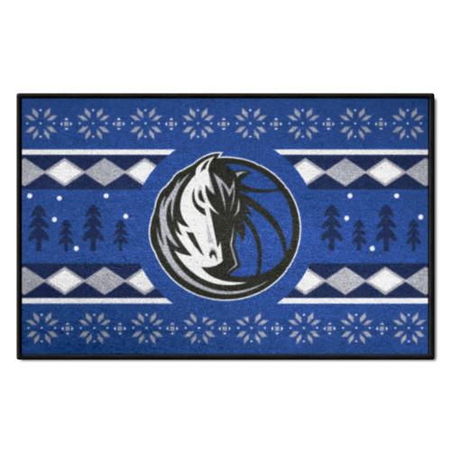 "Blue and White NBA Dallas Mavericks Rectangular Sweater Starter Mat 30"" x 19"" - IMAGE 1"
