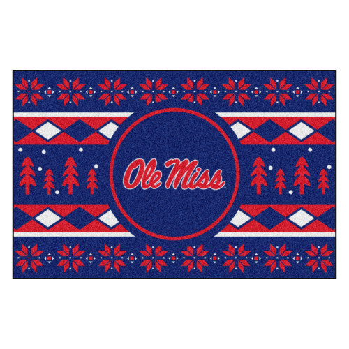"""Navy Blue and Red NCAA Ole Miss Rebels Rectangular Sweater Starter Mat 30"""" x 19"""" - IMAGE 1"""