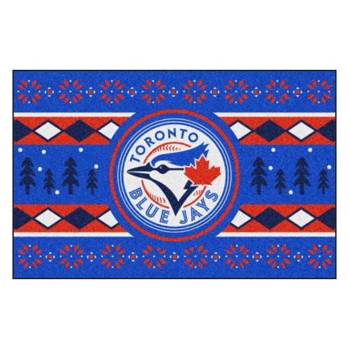 "Blue and Red MLB Toronto Blue Jays Rectangular Sweater Starter Mat 30"" x 19"" - IMAGE 1"
