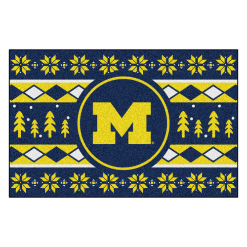 "Navy Blue and Yellow NCAA Michigan Wolverines Rectangular Sweater Starter Mat 30"" x 19"" - IMAGE 1"