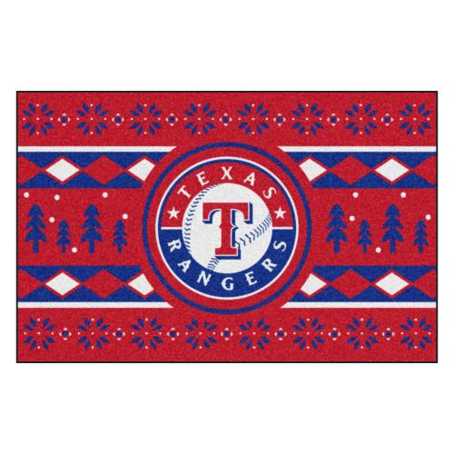 "Red and Blue MLB Texas Rangers Rectangular Sweater Starter Mat 30"" x 19"" - IMAGE 1"
