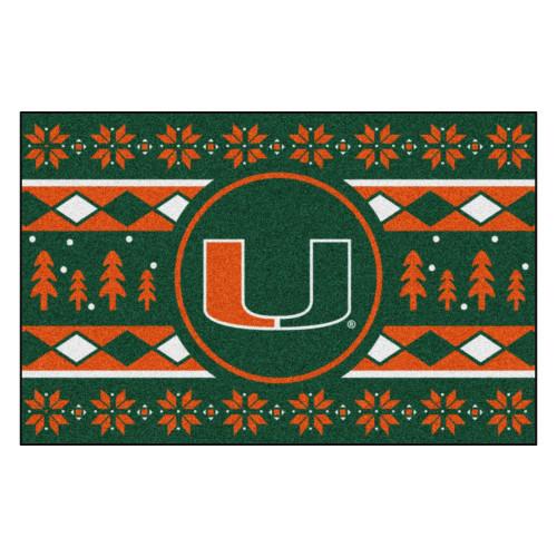 "Green and Orange NCAA Miami Hurricanes Rectangular Sweater Starter Mat 30"" x 19"" - IMAGE 1"