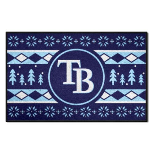"Blue and White MLB Tampa Bay Rays Rectangular Sweater Starter Mat 30"" x 19"" - IMAGE 1"