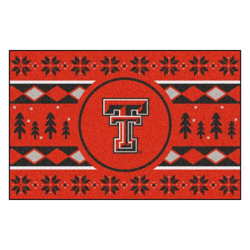 "Red and Black NCAA Texas Tech Red Raiders Rectangular Sweater Starter Mat 30"" x 19"" - IMAGE 1"