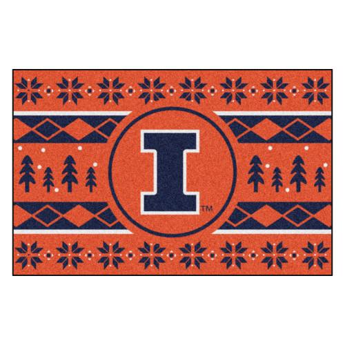 "Orange and Blue NCAA Illinois Fighting Illini Rectangular Sweater Starter Mat 30"" x 19"" - IMAGE 1"