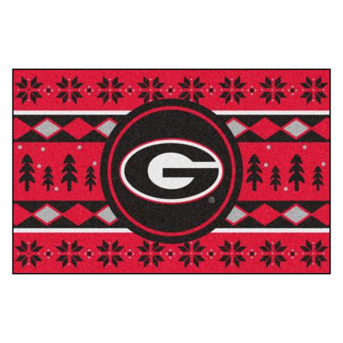 "Red and Black NCAA Georgia Bulldogs Rectangular Sweater Starter Mat 30"" x 19"" - IMAGE 1"