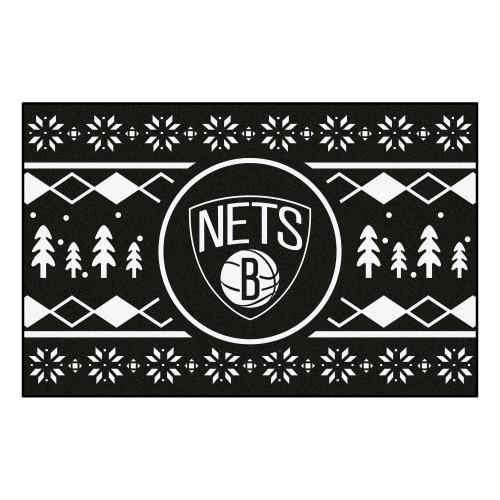 "Black and White NBA Brooklyn Nets Rectangular Sweater Starter Mat 30"" x 19"" - IMAGE 1"