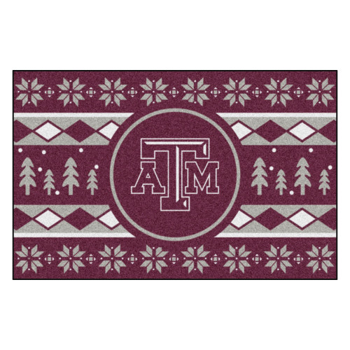 """19"""" x 30"""" Maroon Red and White NCAA Texas A and M Aggies Rectangular Sweater Starter Mat - IMAGE 1"""