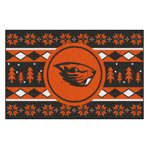 "19"" x 30"" Brown and Black NCAA Oregon State Beavers Rectangular Sweater Starter Mat - IMAGE 1"