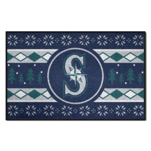 "Blue and Green MLB Seattle Mariners Rectangular Sweater Starter Mat 30"" x 19"" - IMAGE 1"