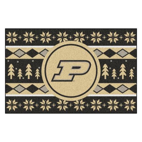 "19"" x 30"" Black and Gold NCAA Purdue Boilermakers Rectangular Sweater Starter Mat - IMAGE 1"
