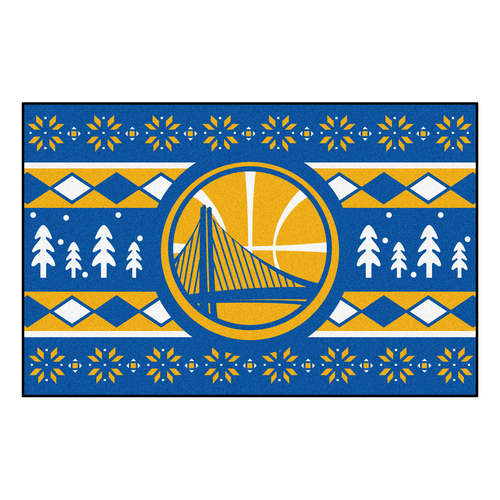 """Blue and Yellow NBA Golden State Warriors Rectangular Sweater Starter Mat 30"""" x 19"""" - IMAGE 1"""