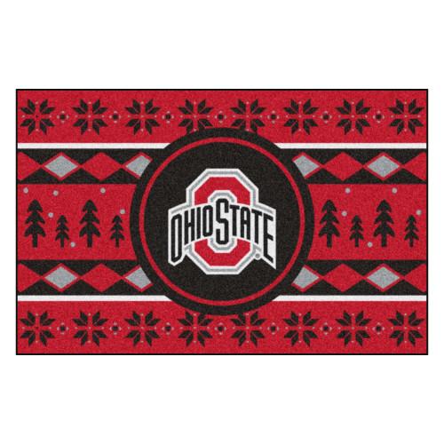 "19"" x 30"" Red and Black NCAA Ohio State Buckeyes Rectangular Sweater Starter Mat - IMAGE 1"