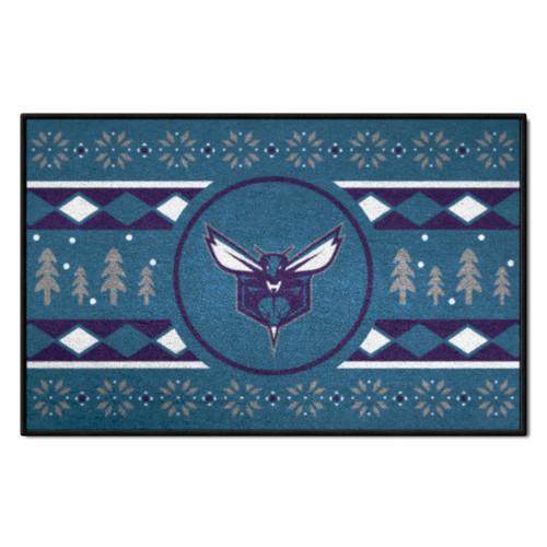 "Blue and White NBA Charlotte Hornets Rectangular Sweater Starter Mat 30"" x 19"" - IMAGE 1"