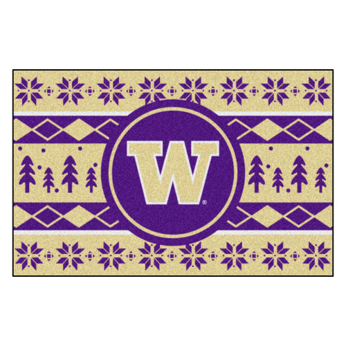 "Purple and Beige NCAA Washington Huskies Rectangular Sweater Starter Mat 30"" x 19"" - IMAGE 1"