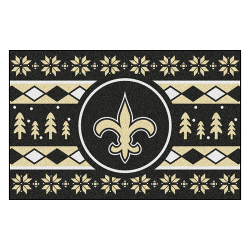 "Black and Beige NFL New Orleans Saints Rectangular Sweater Starter Mat 30"" x 19"" - IMAGE 1"