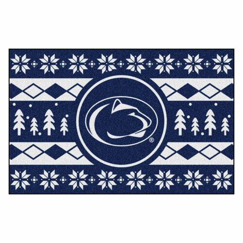 """19"""" x 30"""" Blue and White NCAA Penn State Nittany Lions Rectangular Sweater Starter Mat - IMAGE 1"""