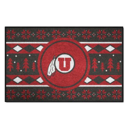 """Red and Black NCAA Utah Utes Rectangular Sweater Starter Mat 30"""" x 19"""" - IMAGE 1"""