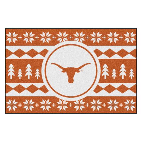 "Burnt Orange and White NCAA Texas Longhorns Rectangular Sweater Starter Mat 30"" x 19"" - IMAGE 1"