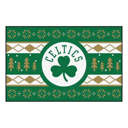 "Green and White NBA Boston Celtics Rectangular Sweater Starter Mat 30"" x 19"" - IMAGE 1"