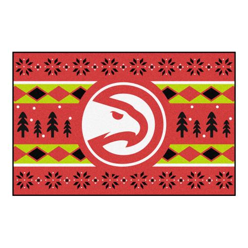 "Red and Green NBA Atlanta Hawks Rectangular Sweater Starter Mat 30"" x 19"" - IMAGE 1"