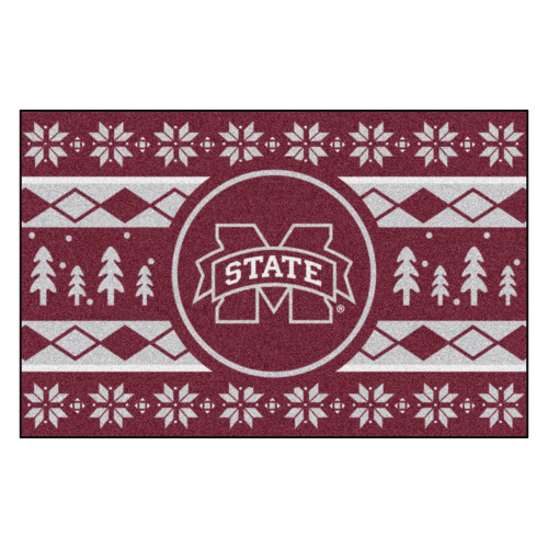 """19"""" x 30"""" Red and White NCAA Mississippi State Bulldogs Rectangular Sweater Starter Mat - IMAGE 1"""