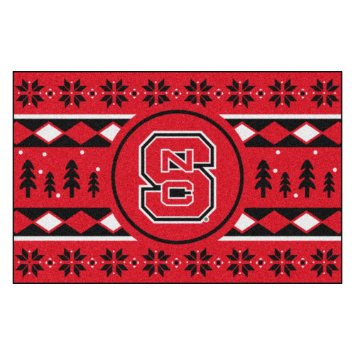"""19"""" x 30"""" Red and Black NCAA NC State Wolfpack Rectangular Sweater Starter Mat - IMAGE 1"""