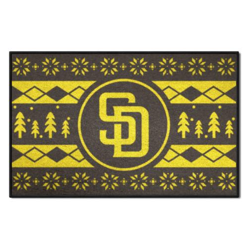 "Blue and White MLB San Diego Padres Rectangular Sweater Starter Mat 30"" x 19"" - IMAGE 1"