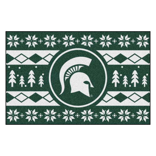"""19"""" x 30"""" Green and White NCAA Michigan State Spartans Rectangular Sweater Starter Mat - IMAGE 1"""