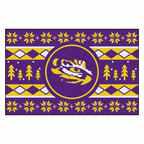"19"" x 30"" Purple and Yellow NCAA LSU Tigers Rectangular Sweater Starter Mat - IMAGE 1"
