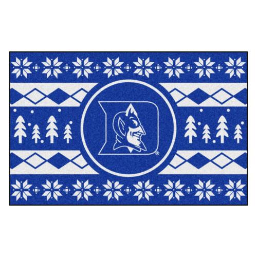 "19"" x 30"" Blue and White NCAA Blue Devils Rectangular Sweater Starter Mat - IMAGE 1"