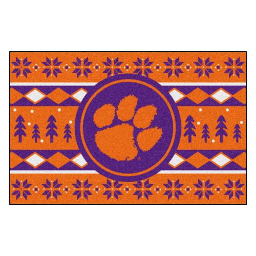 "19"" x 30"" Orange and Purple NCAA Clemson Tigers Rectangular Sweater Starter Mat - IMAGE 1"