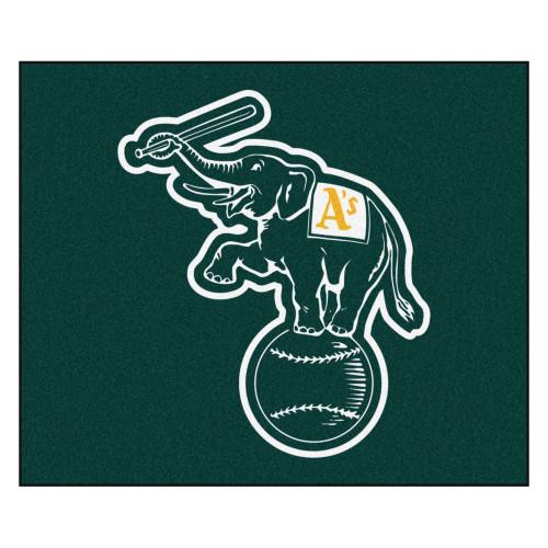 "59.5"" x 71"" Green and White MLB Oakland Athletics Rectangular Tailgater Area Rug - IMAGE 1"