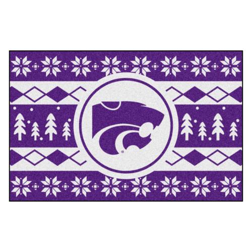 "19"" x 30"" Purple and White NCAA Kansas State Wildcats Rectangular Sweater Starter Mat - IMAGE 1"
