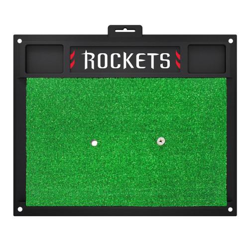"17"" x 20"" Black and Green NBA Houston Rockets Golf Rectangular Hitting Mat - IMAGE 1"
