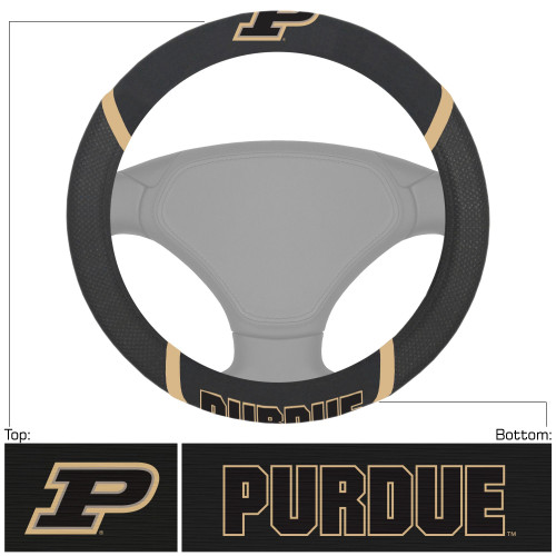 """15"""" Black and Gold NCAA Purdue Boilermakers Steering Wheel Cover - IMAGE 1"""