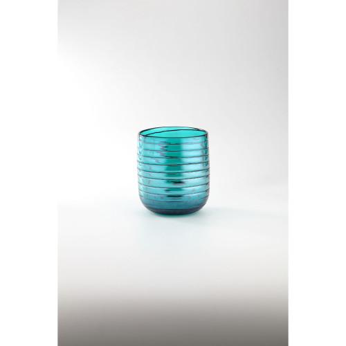 """7.5"""" Blue Cylinder Glass Floral Vase Tabletop Decor - IMAGE 1"""