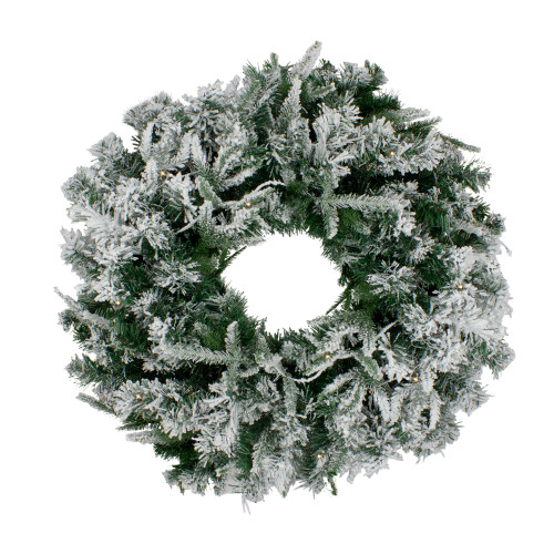 Pre-Lit Flocked Winfield Fir Artificial Christmas Wreath - 36-Inch, Warm White LED Lights - IMAGE 1